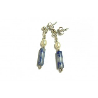 Blue Sodalite and Freshwater Pearl Earrings